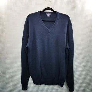 Brooks Brothers Cotton V-Neck Navy Sweater